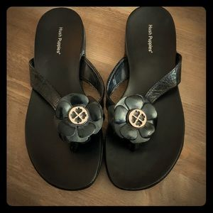Black Hush Puppies Flower Sandal